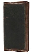 Ariat® Performance Work Dark Brown Double Welt Trim Leather Checkbook / Rodeo Wallet