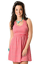 Ocean Drive® Ladies Coral and White Stripe Mesh Back Sleeveless Dress
