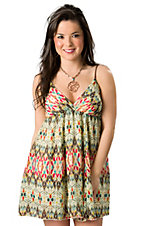 Ocean Drive® Women's Cream, Brown, Coral & Turquoise Print V-Neck w/ Leather Straps Sleeveless Dress
