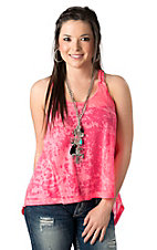 Ocean Drive Women's Neon Pink Braided Strap Burnout HiLo Fashion Top
