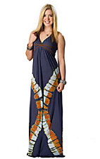 Ocean Drive® Women's Navy Tie Dyed with Brown Leather Band Halter Maxi Dress