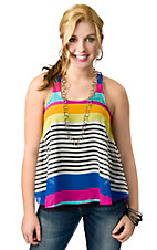 Ocean Drive® Women's Multi Stripe Chiffon Racer Back Sleeveless Fashion Top