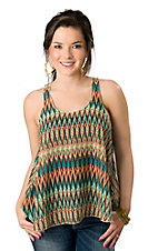 Ocean Drive® Women's Orange and Turquoise Print Chiffon Racer Back Sleeveless Fashion Top
