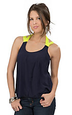 Vintage Havana ® Women's Navy with Neon Yellow Straps Fashion Tank Top
