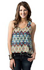 Ocean Drive® Women's Blue Multi Print Chiffon with a Crochet Mesh Back Sleeveless Fashion Top