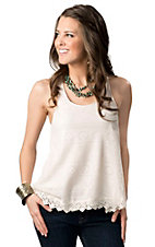 Ocean Drive® Women's Ivory Crochet Racer Back Fashion Tank