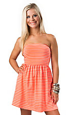 Ocean Drive® Women's Pink with White Stripes Cutout Open Back with Bow Tube Dress