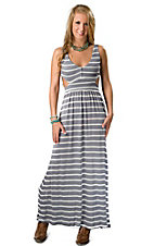 Ocean Drive® Women's Grey Blue with White Stripes Cutout Open Back Sleeveless Maxi Dress