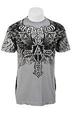 Affliction® Men's Elastic Silver with Winged Cross Short Sleeve Logo Tee