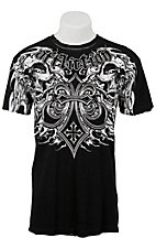 Affliction® Men's Black and White Death Slayer Short Sleeve Tee - Reversible