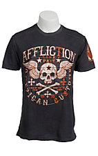 Affliction® Men's Grey & Orange Creeps Short Sleeve Tee