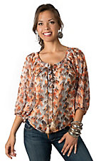 Umgee® Women's Orange and Brown Feather Print 3/4 Dolman Sleeve Chiffon Fashion Top