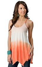 Ocean Drive® Women's Orange Ombre Leather Braided Strap Fashion Tunic Tank Top