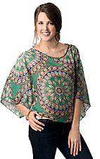 Ocean Drive® Women's Green Circle Print Boxy Open Shoulder Short Sleeve Fashion Top
