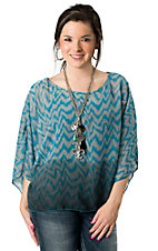 Ocean Drive® Women's Turquoise and Grey Zig Zag Boxy Open Shoulder Short Sleeve Fashion Top