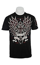 Affliction® Men's Black Vibrant with Red and White Winged Cross Short Sleeve Tee