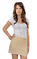 Umgee® Women's Natural and Yellow Crochet Skirt