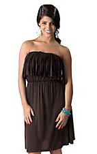 Ocean Drive® Women's Brown Fringe Strapless Dress
