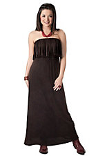 Ocean Drive Women's Distressed Brownish Black Fringe Strapless Maxi Dress