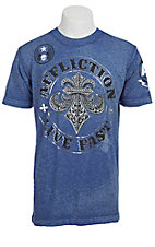 Affliction Men's Eden Blue Burnout Fleur De Lis Short Sleeve Tee
