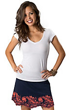 Umgee® Women's Navy with Pink Embroidery and Scalloped Hem Linen Skirt