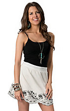 Umgee® Women's White with Black Embroidery and Scalloped Hem Linen Skirt