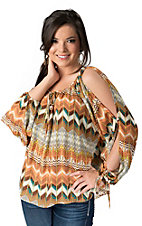 Umgee® Women's Multi-Colored Chevron Cold Shoulder Long Sleeve Fashion Top