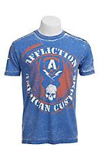 Affliction® Men's Blue Burnout Flag Crewneck Short Sleeve Tee