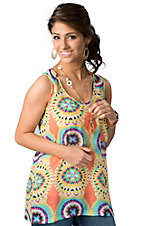 Umgee® Women's Peach with Turquoise and Yellow Circle Print and Back Zipper Sleeveless Fashion Top