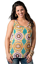 Umgee® Women's Turquoise with Orange and Purple Circle Print and Back Zipper Sleeveless Fashion Top