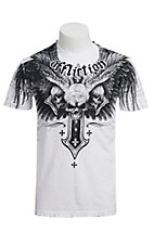 Affliction® Men's White Demon Eyes Crewneck Short Sleeve Tee