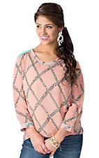 Umgee® Women's Pink with Mint Leopard Diamond Print Chiffon Long Sleeve Fashion Top