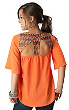 Umgee® Women's Orange with Multi-Colored Chevron Crochet Hi-Lo 3/4 Sleeves Fashion Top