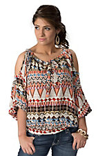 Umgee® Women's Cream with Coral, Brown and Blue Print 3/4 Dolman Cold Shoulder Sleeves Fashion Top