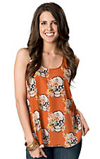 Umgee® Women's Orange with Happy Floral Skulls Print Sleeveless Racerback Fashion Tank