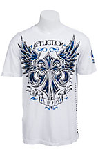 Affliction Men's White Vibration Crewneck Short Sleeve Tee