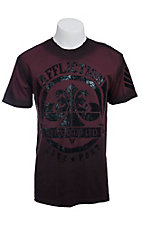 Affliction Men's Burgundy Mayson Crack Crewneck Short Sleeve Tee
