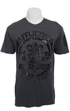 Affliction Men's Charcoal Mayson Crack Crewneck Short Sleeve Tee