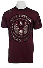 Affliction Men's Maroon Moto Hellion Crewneck Short Sleeve Tee