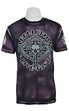 Affliction Men's Purple & Black On Guard Crewneck Short Sleeve Tee