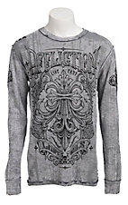 Affliction Men's Corroded Navy/Grey Long Sleeve Thermal Tee - Reversible