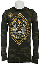 Affliction Men's Mass Power Black/Camo Long Sleeve Thermal Tee - Reversible