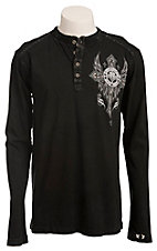 Affliction Men's Black Central Long Sleeve Henley Tee