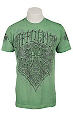 Affliction Men's Kelly Green Brewski Burnout Fleur De Lis Short Sleeve Tee
