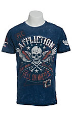 Afflicition Men's Navy Burning Rubber Short Sleeve Tee