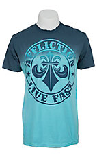 Affliction Men's Blue & Turquoise Pipeline Short Sleeve Tee