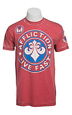 Affliction Men's Red Devious Crewneck Short Sleeve Tee