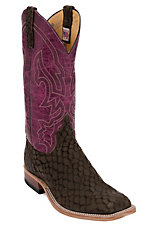 Anderson Bean Men's Dark Loch Ness Monster w/ Wine Lava Double Welt Square Toe Western Boot