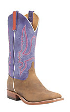 Anderson Bean Men's Tan Mad Cat w/ Purple Top Double Welt Square Toe Western Boots