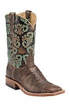Anderson Bean Women's Chocolate Croc Print with Turquoise New Orleans Top Square Toe Western Boots